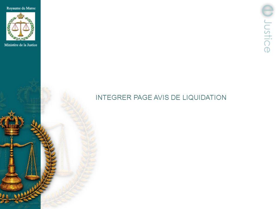 INTEGRER PAGE AVIS DE LIQUIDATION