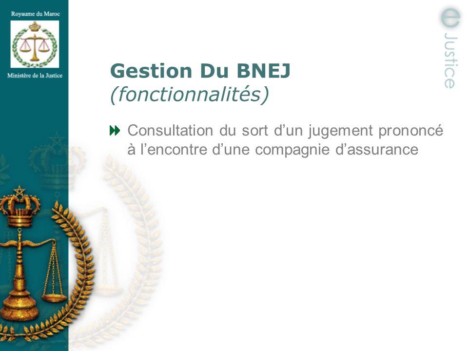 Gestion Du BNEJ (fonctionnalités) Consultation du sort dun jugement prononcé à lencontre dune compagnie dassurance
