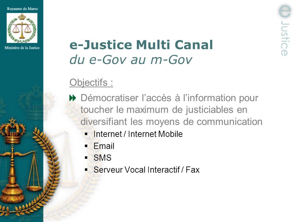 e-Justice Multi Canal du e-Gov au m-Gov Objectifs : Démocratiser laccès à linformation pour toucher le maximum de justiciables en diversifiant les moy