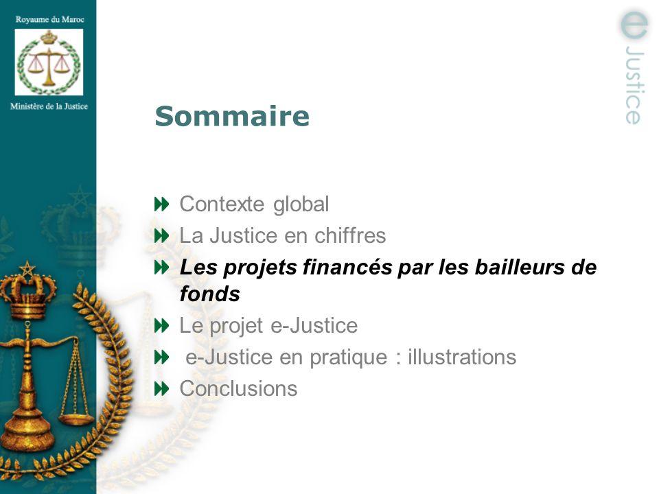 Sommaire Contexte global La Justice en chiffres Les projets financés par les bailleurs de fonds Le projet e-Justice e-Justice en pratique : illustrati