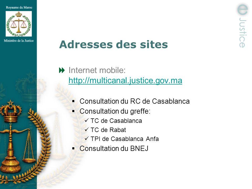 Adresses des sites Internet mobile: http://multicanal.justice.gov.ma http://multicanal.justice.gov.ma Consultation du RC de Casablanca Consultation du