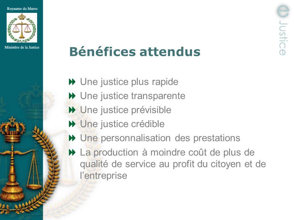 Bénéfices attendus Une justice plus rapide Une justice transparente Une justice prévisible Une justice crédible Une personnalisation des prestations L