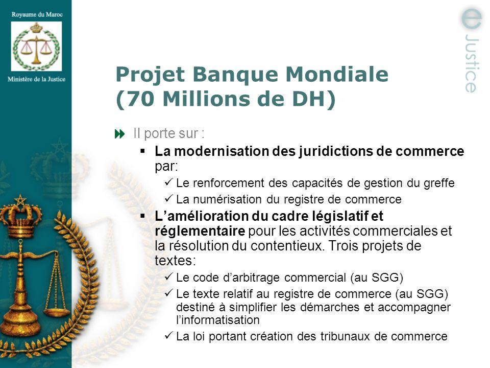 Projet Banque Mondiale (70 Millions de DH) Il porte sur : La modernisation des juridictions de commerce par: Le renforcement des capacités de gestion