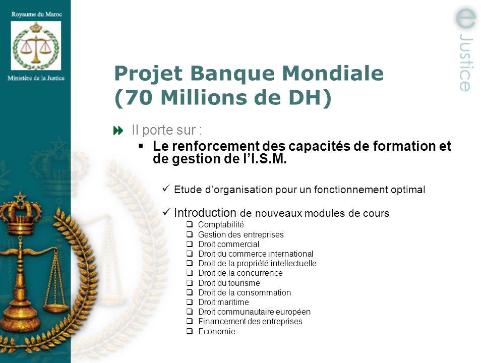 Projet Banque Mondiale (70 Millions de DH) Il porte sur : Le renforcement des capacités de formation et de gestion de lI.S.M. Etude dorganisation pour