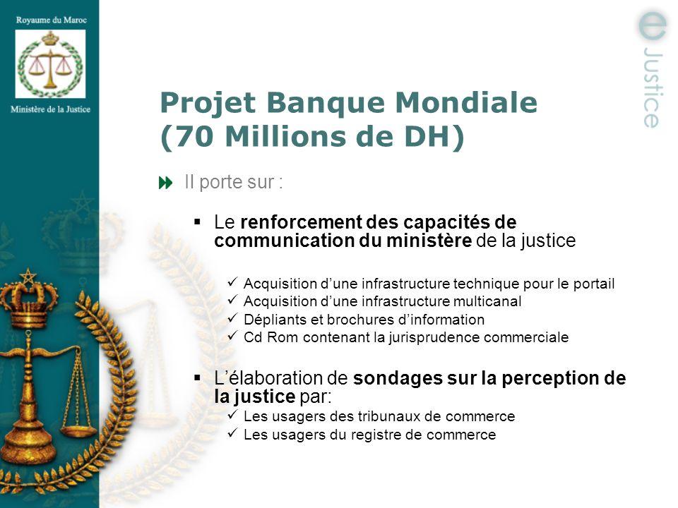 Projet Banque Mondiale (70 Millions de DH) Il porte sur : Le renforcement des capacités de communication du ministère de la justice Acquisition dune i