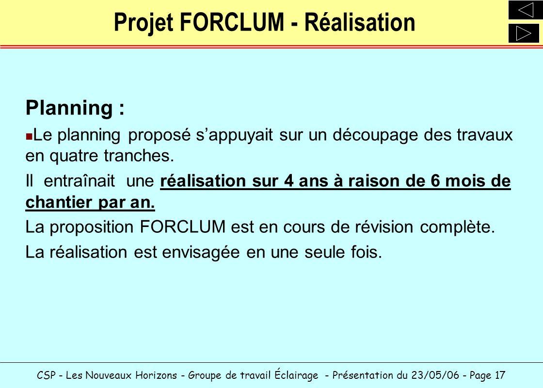 CSP - Les Nouveaux Horizons - Groupe de travail Éclairage - Présentation du 23/05/06 - Page 17 Projet FORCLUM - Réalisation Planning : Le planning pro