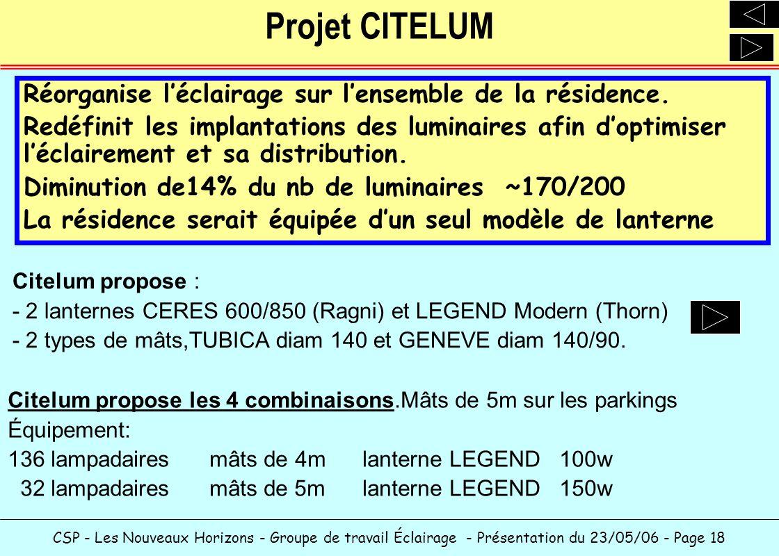 CSP - Les Nouveaux Horizons - Groupe de travail Éclairage - Présentation du 23/05/06 - Page 18 Projet CITELUM Citelum propose les 4 combinaisons.Mâts