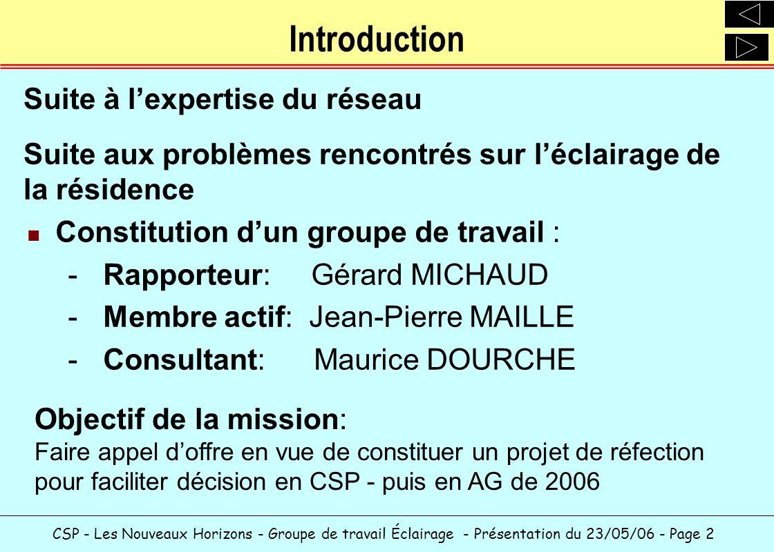 CSP - Les Nouveaux Horizons - Groupe de travail Éclairage - Présentation du 23/05/06 - Page 2 Introduction Constitution dun groupe de travail : -Rappo