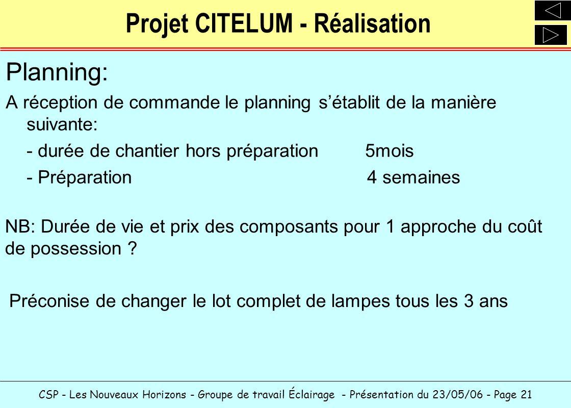 CSP - Les Nouveaux Horizons - Groupe de travail Éclairage - Présentation du 23/05/06 - Page 21 Projet CITELUM - Réalisation Planning: A réception de c
