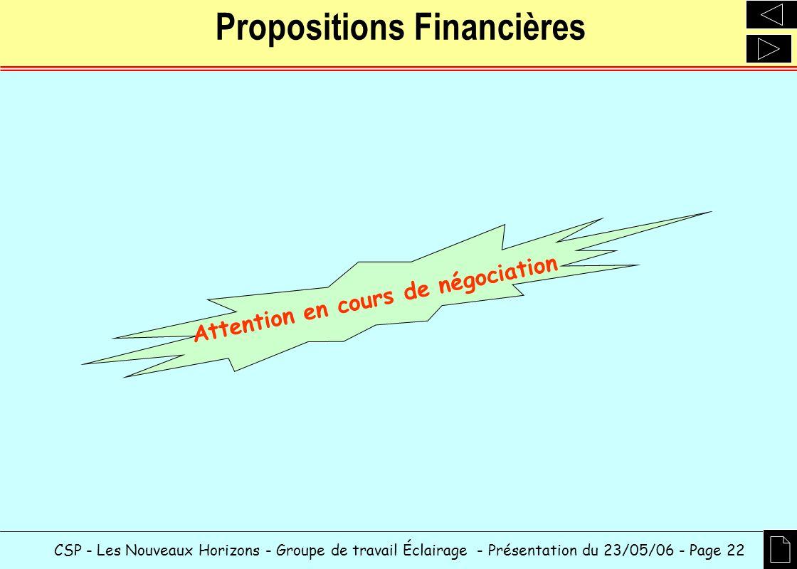 CSP - Les Nouveaux Horizons - Groupe de travail Éclairage - Présentation du 23/05/06 - Page 22 Propositions Financières Attention en cours de négociat