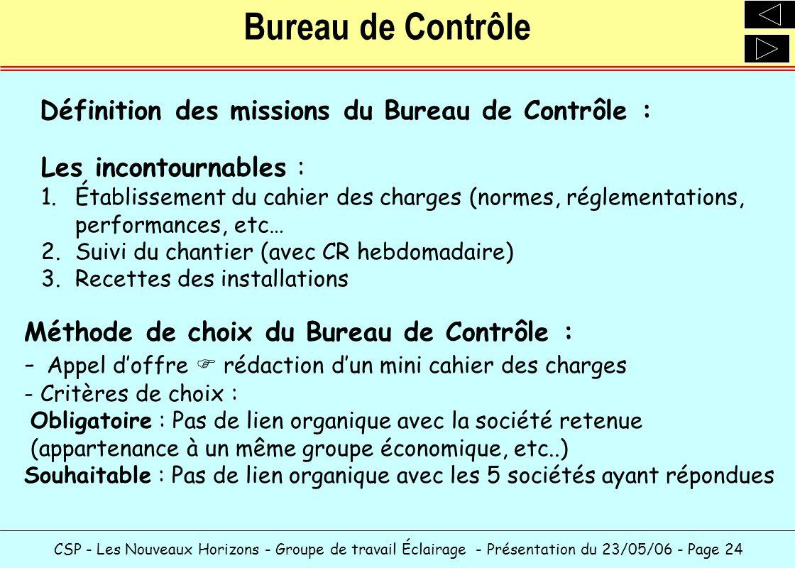 CSP - Les Nouveaux Horizons - Groupe de travail Éclairage - Présentation du 23/05/06 - Page 24 Bureau de Contrôle Définition des missions du Bureau de