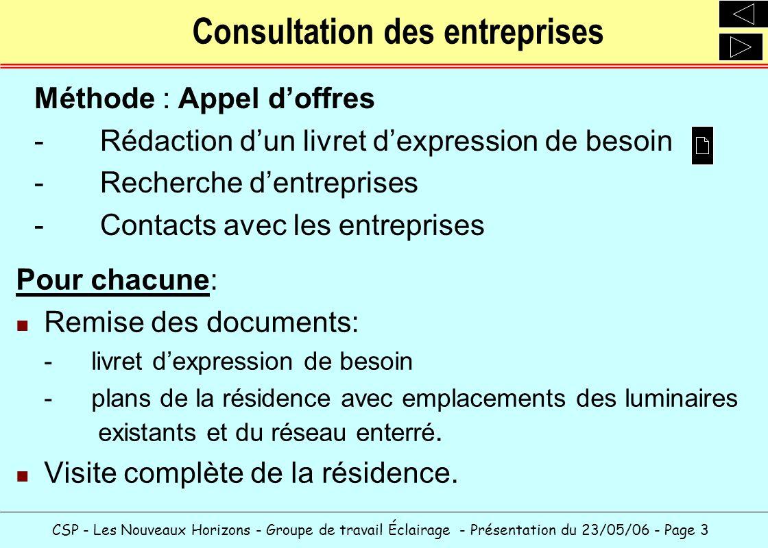 CSP - Les Nouveaux Horizons - Groupe de travail Éclairage - Présentation du 23/05/06 - Page 3 Consultation des entreprises Pour chacune: Remise des do