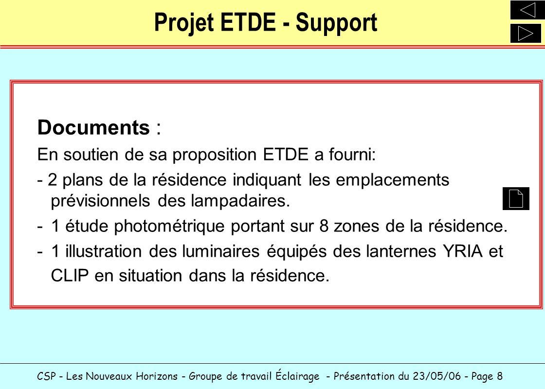 CSP - Les Nouveaux Horizons - Groupe de travail Éclairage - Présentation du 23/05/06 - Page 9 Projet ETDE - Réalisation Accompagnement: ETDE propose - Le financement sur 3 ans de lopération au taux de 4,55%.