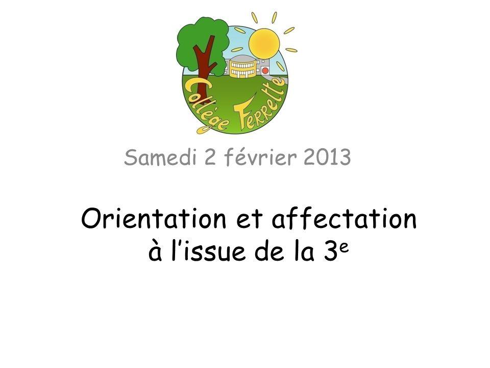 Orientation et affectation à lissue de la 3 e Samedi 2 février 2013