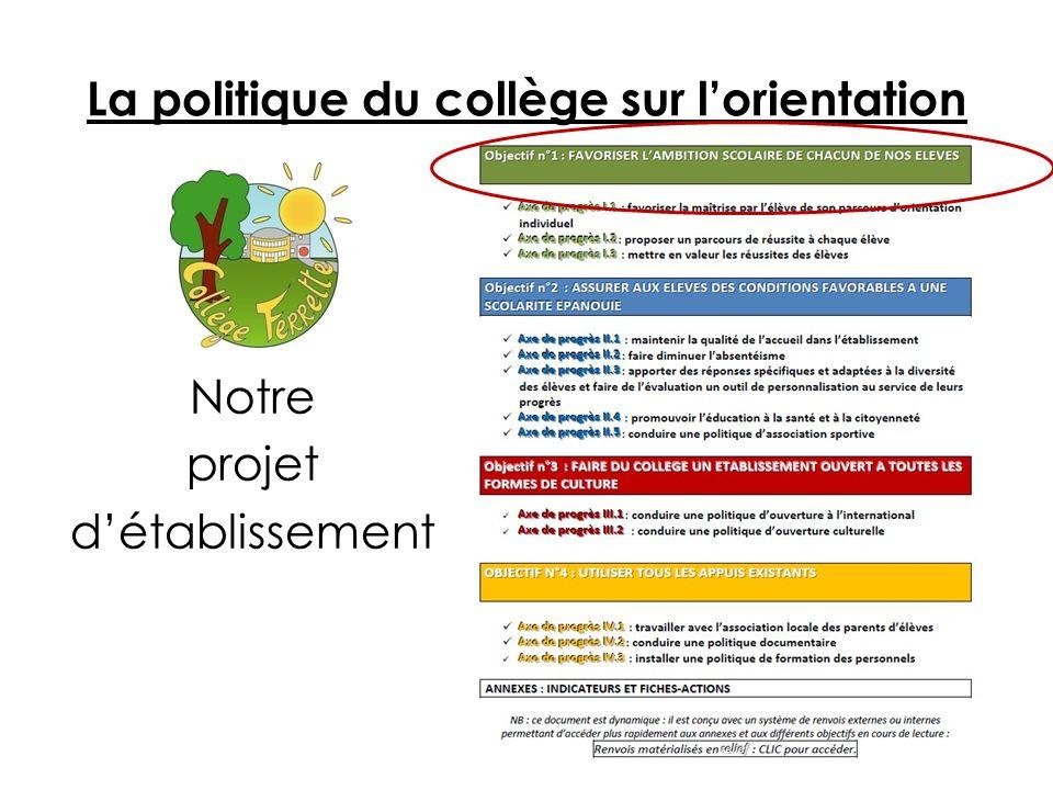La politique du collège sur lorientation Notre projet détablissement