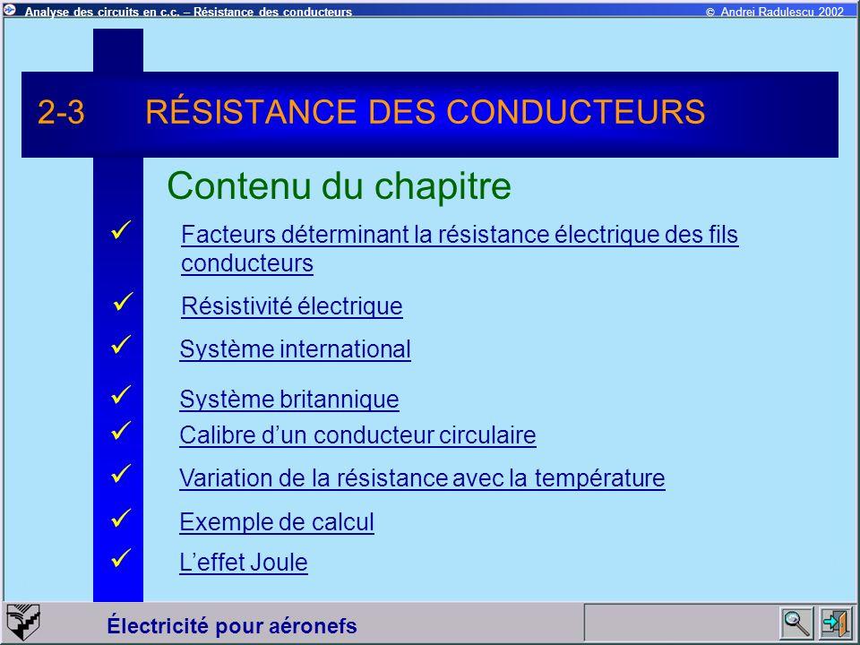 © Andrei Radulescu 2002Analyse des circuits en c.c. – Résistance des conducteurs Électricité pour aéronefs Facteurs déterminant la résistance électriq