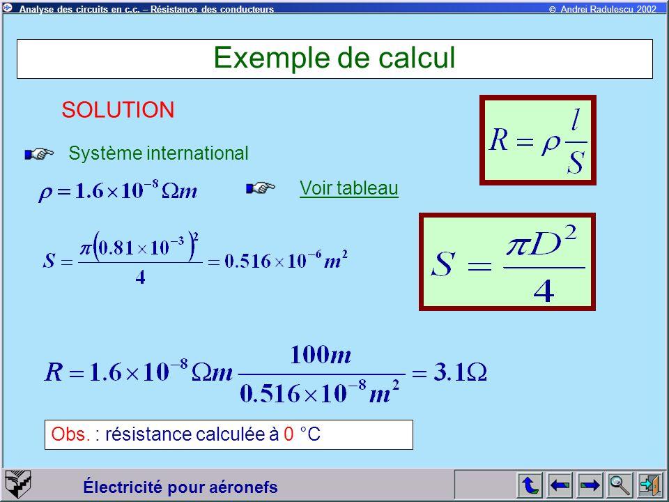© Andrei Radulescu 2002Analyse des circuits en c.c. – Résistance des conducteurs Électricité pour aéronefs Exemple de calcul Système international SOL