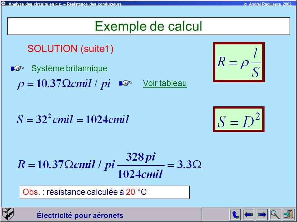 © Andrei Radulescu 2002Analyse des circuits en c.c. – Résistance des conducteurs Électricité pour aéronefs Exemple de calcul Système britannique SOLUT
