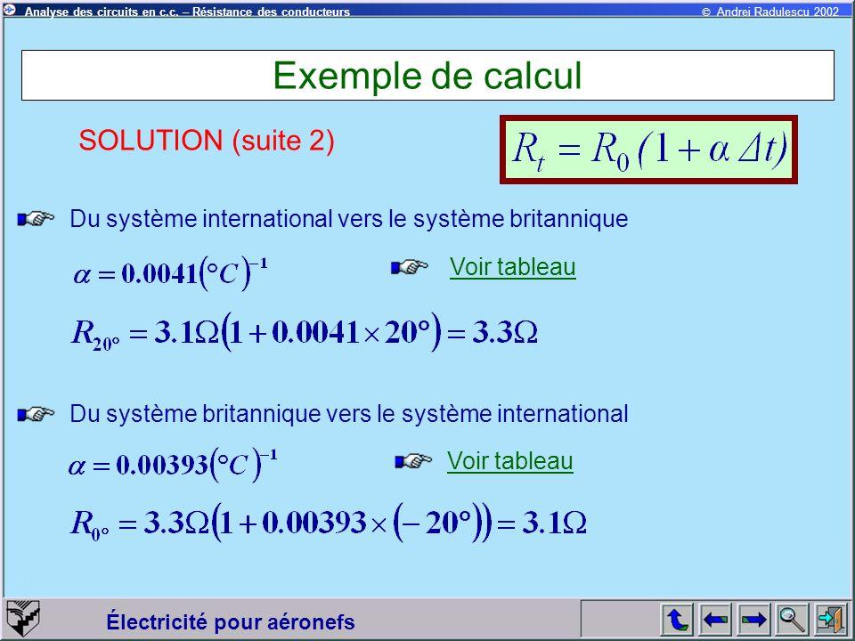 © Andrei Radulescu 2002Analyse des circuits en c.c. – Résistance des conducteurs Électricité pour aéronefs Exemple de calcul Du système international