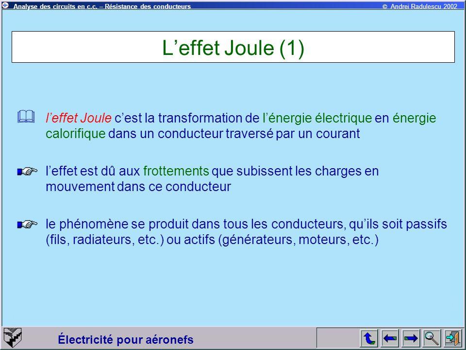 © Andrei Radulescu 2002Analyse des circuits en c.c. – Résistance des conducteurs Électricité pour aéronefs Leffet Joule (1) leffet Joule cest la trans
