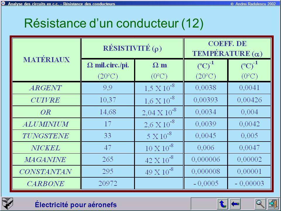 © Andrei Radulescu 2002Analyse des circuits en c.c. – Résistance des conducteurs Électricité pour aéronefs Résistance dun conducteur (12)