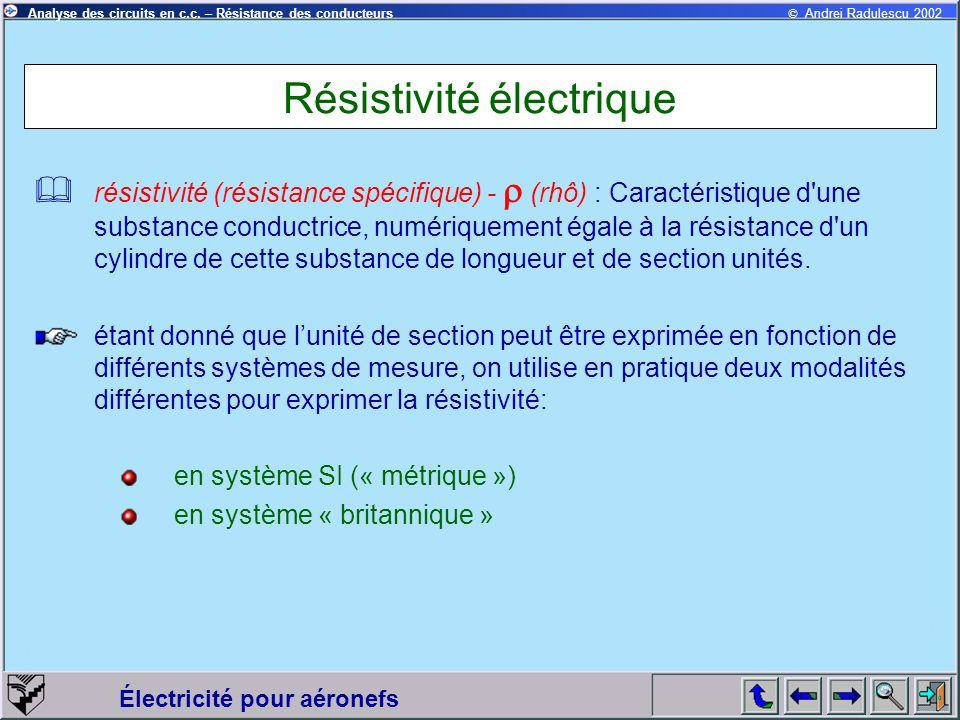 © Andrei Radulescu 2002Analyse des circuits en c.c. – Résistance des conducteurs Électricité pour aéronefs Résistivité électrique résistivité (résista