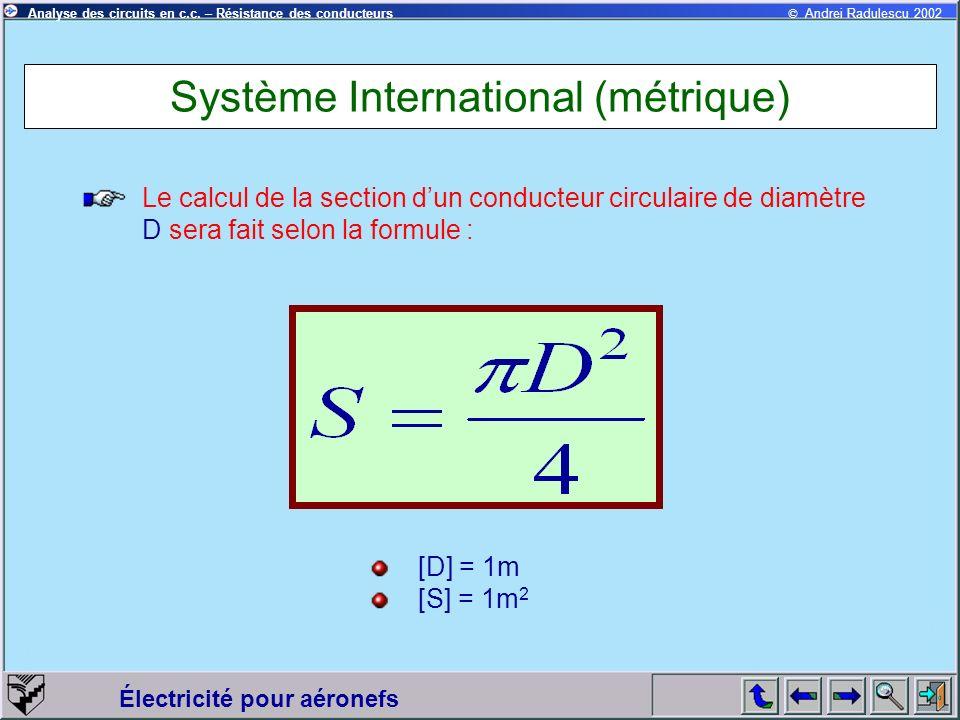 © Andrei Radulescu 2002Analyse des circuits en c.c. – Résistance des conducteurs Électricité pour aéronefs Système International (métrique) Le calcul