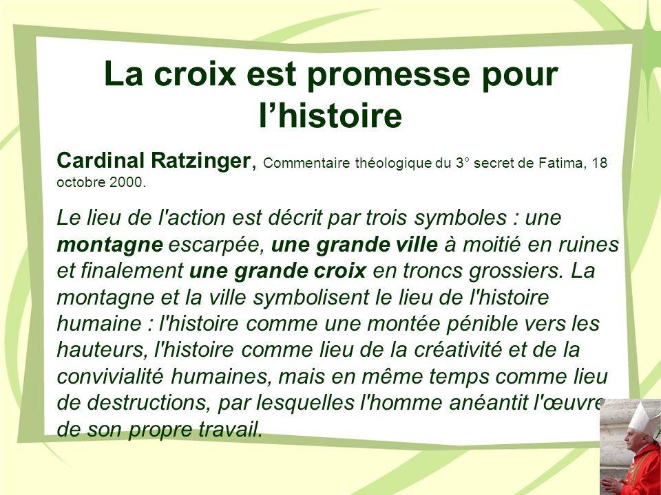 La croix est promesse pour lhistoire Cardinal Ratzinger, Commentaire théologique du 3° secret de Fatima, 18 octobre 2000. Le lieu de l'action est décr