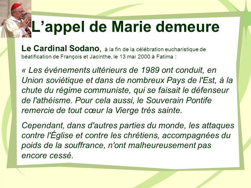Mon Cœur Immaculé triomphera Cardinal Ratzinger, Commentaire théologique du 3° secret de Fatima, 18 octobre 2000.