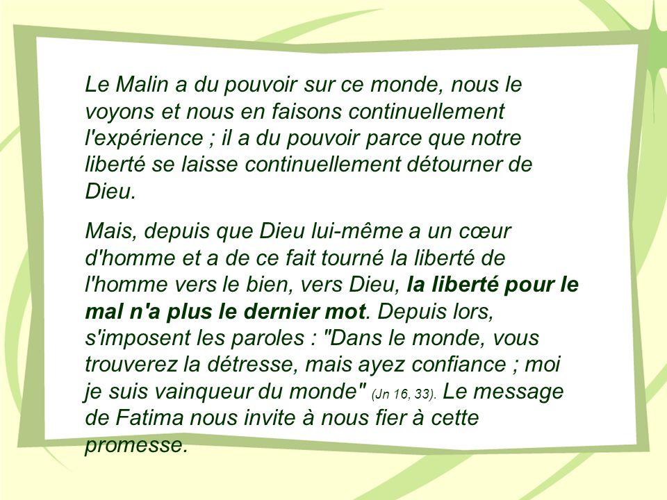 Le Malin a du pouvoir sur ce monde, nous le voyons et nous en faisons continuellement l'expérience ; il a du pouvoir parce que notre liberté se laisse