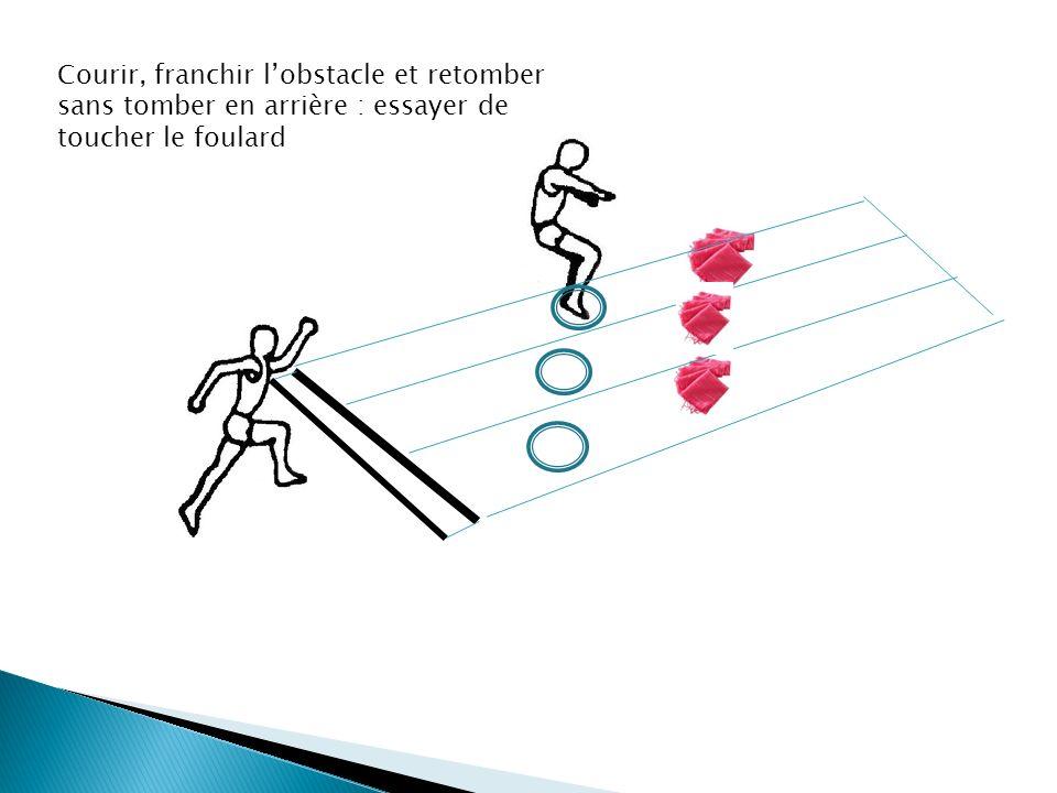 Courir, franchir lobstacle et retomber sans tomber en arrière : essayer de toucher le foulard