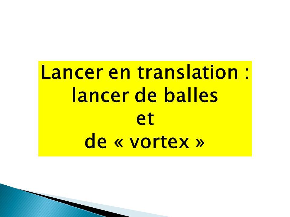 Lancer en translation : lancer de balles et de « vortex »