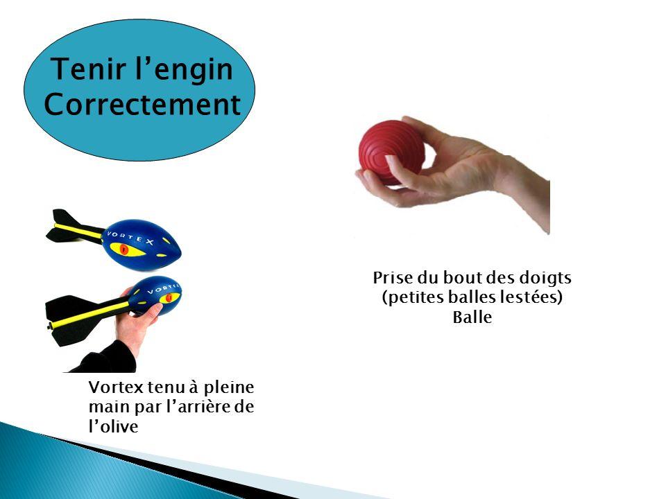 Tenir lengin Correctement Vortex tenu à pleine main par larrière de lolive Prise du bout des doigts (petites balles lestées) Balle