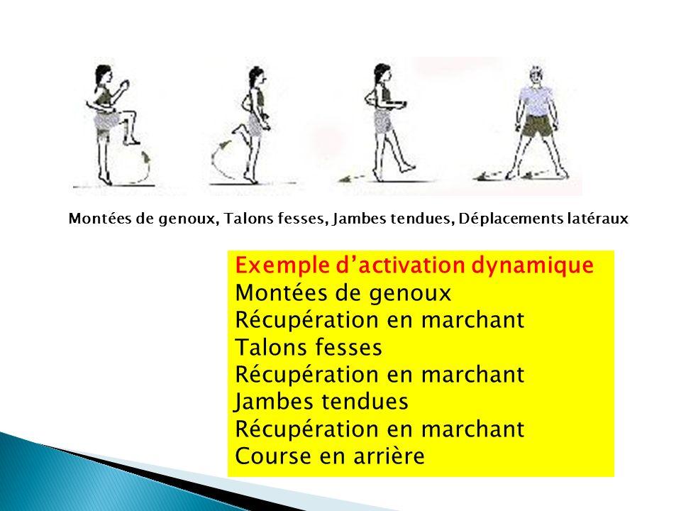 Montées de genoux, Talons fesses, Jambes tendues, Déplacements latéraux Exemple dactivation dynamique Montées de genoux Récupération en marchant Talon