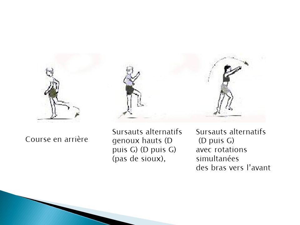 Sursauts alternatifs genoux hauts (D puis G) (D puis G) (pas de sioux), Sursauts alternatifs (D puis G) avec rotations simultanées des bras vers lavan