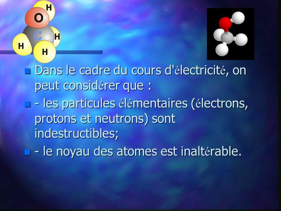 n Puisque l atome poss è de autant de charges positives (protons) que de charges n é gatives ( é lectrons), on dit que l atome est é lectriquement neutre.