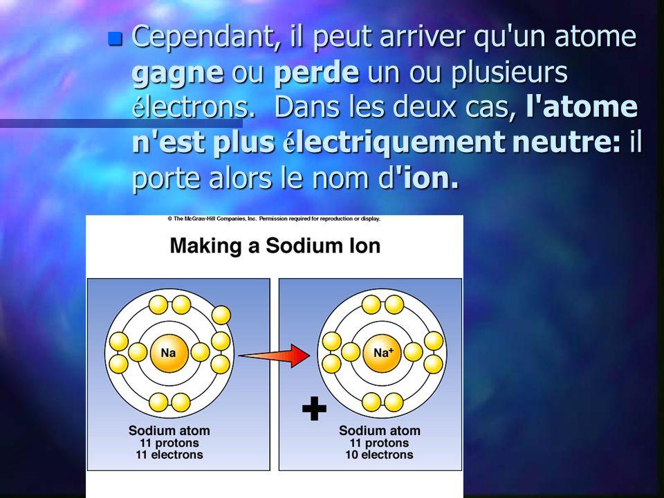 n Dans le cadre du cours d é lectricit é, on peut consid é rer que : n - les particules é l é mentaires ( é lectrons, protons et neutrons) sont indestructibles; n - le noyau des atomes est inalt é rable.