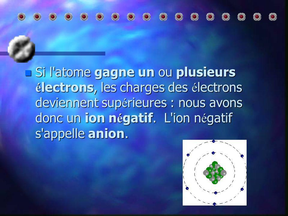 nSnSnSnSi l atome perd un ou plusieurs électrons, les charges du noyau deviennent supérieures, nous avons donc un ion positif.