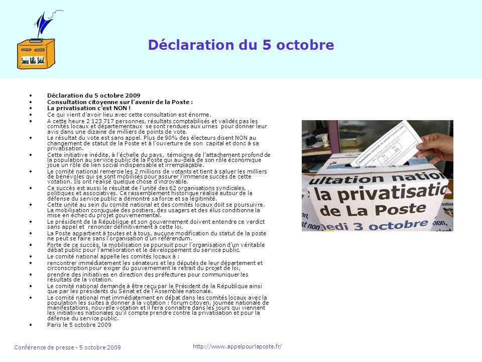 Conférence de presse - 5 octobre 2009 http://www.appelpourlaposte.fr/ Déclaration du 5 octobre Déclaration du 5 octobre 2009 Consultation citoyenne sur lavenir de la Poste : La privatisation cest NON .