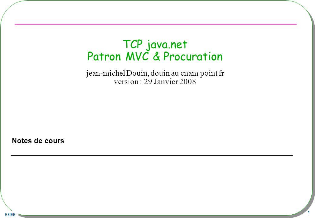 ESIEE 1 TCP java.net Patron MVC & Procuration Notes de cours jean-michel Douin, douin au cnam point fr version : 29 Janvier 2008