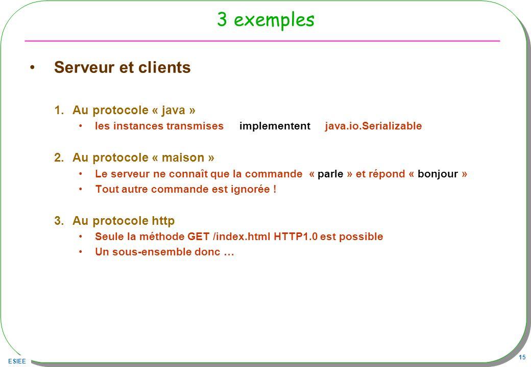 ESIEE 15 3 exemples Serveur et clients 1.Au protocole « java » les instances transmises implementent java.io.Serializable 2.Au protocole « maison » Le