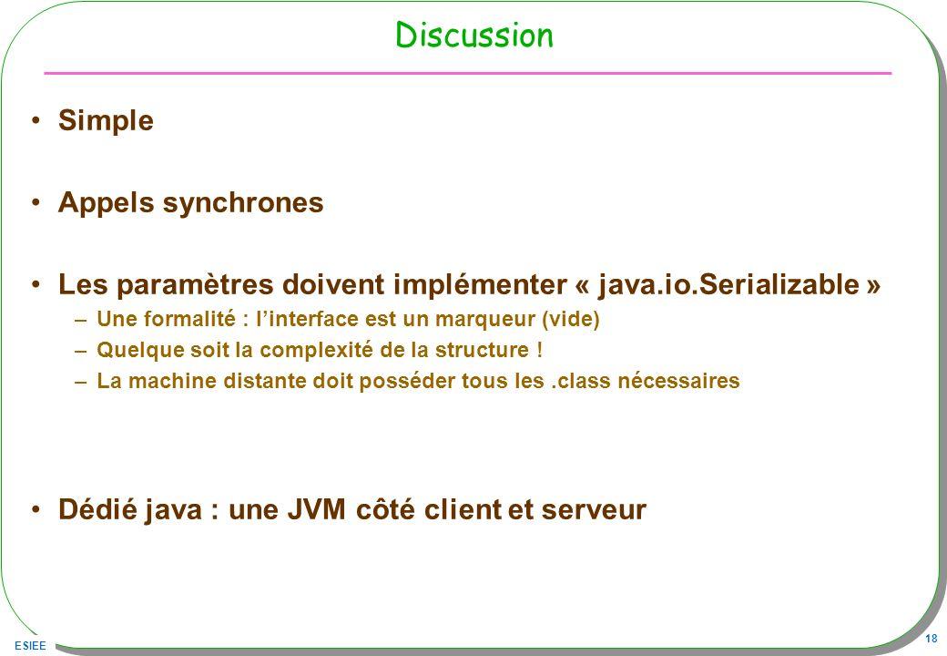 ESIEE 18 Discussion Simple Appels synchrones Les paramètres doivent implémenter « java.io.Serializable » –Une formalité : linterface est un marqueur (