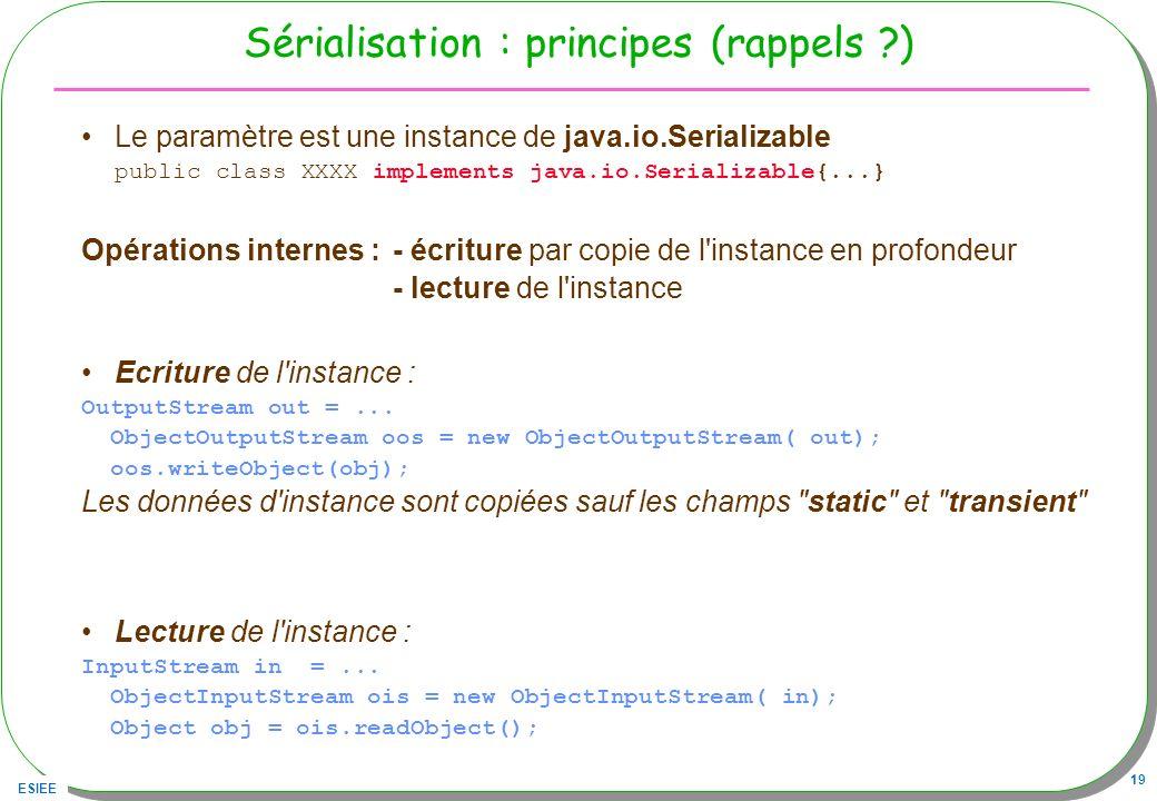 ESIEE 19 Sérialisation : principes (rappels ?) Le paramètre est une instance de java.io.Serializable public class XXXX implements java.io.Serializable