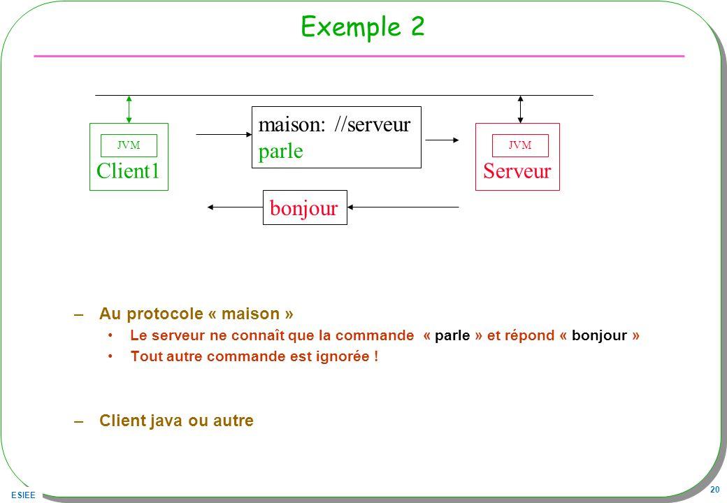 ESIEE 20 Exemple 2 –Au protocole « maison » Le serveur ne connaît que la commande « parle » et répond « bonjour » Tout autre commande est ignorée ! –C