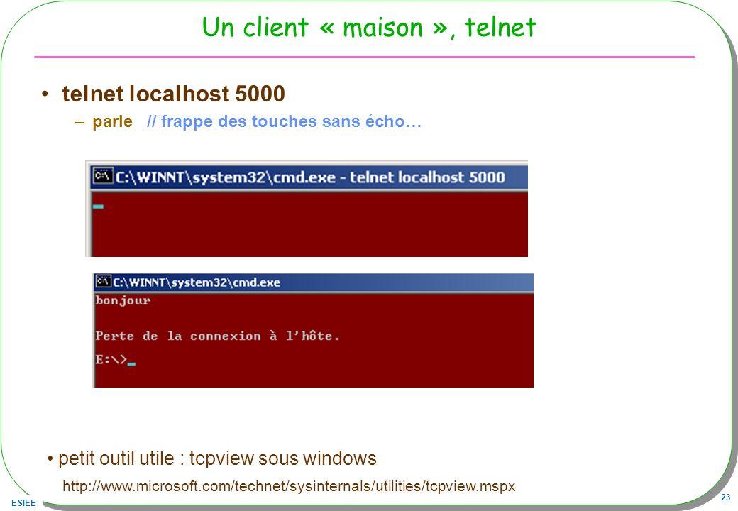 ESIEE 23 Un client « maison », telnet telnet localhost 5000 –parle // frappe des touches sans écho… petit outil utile : tcpview sous windows http://ww