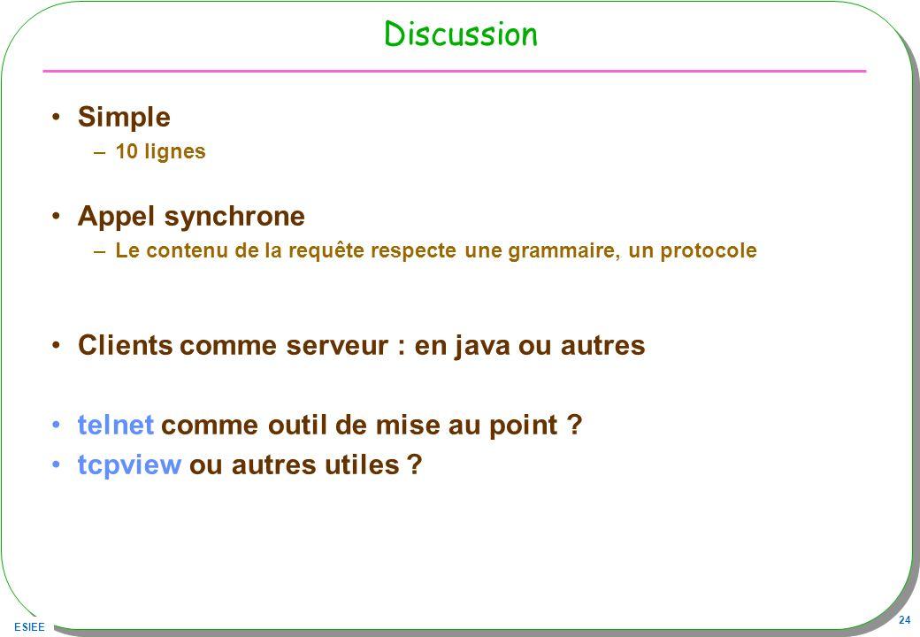 ESIEE 24 Discussion Simple –10 lignes Appel synchrone –Le contenu de la requête respecte une grammaire, un protocole Clients comme serveur : en java o