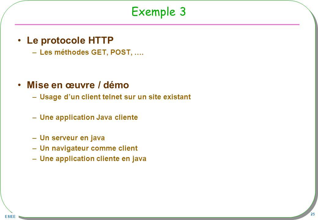 ESIEE 25 Exemple 3 Le protocole HTTP –Les méthodes GET, POST, …. Mise en œuvre / démo –Usage dun client telnet sur un site existant –Une application J