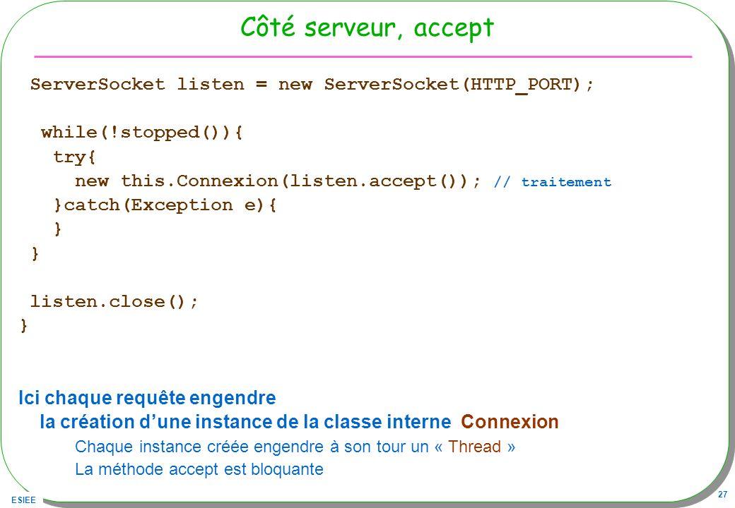 ESIEE 27 Côté serveur, accept ServerSocket listen = new ServerSocket(HTTP_PORT); while(!stopped()){ try{ new this.Connexion(listen.accept()); // trait