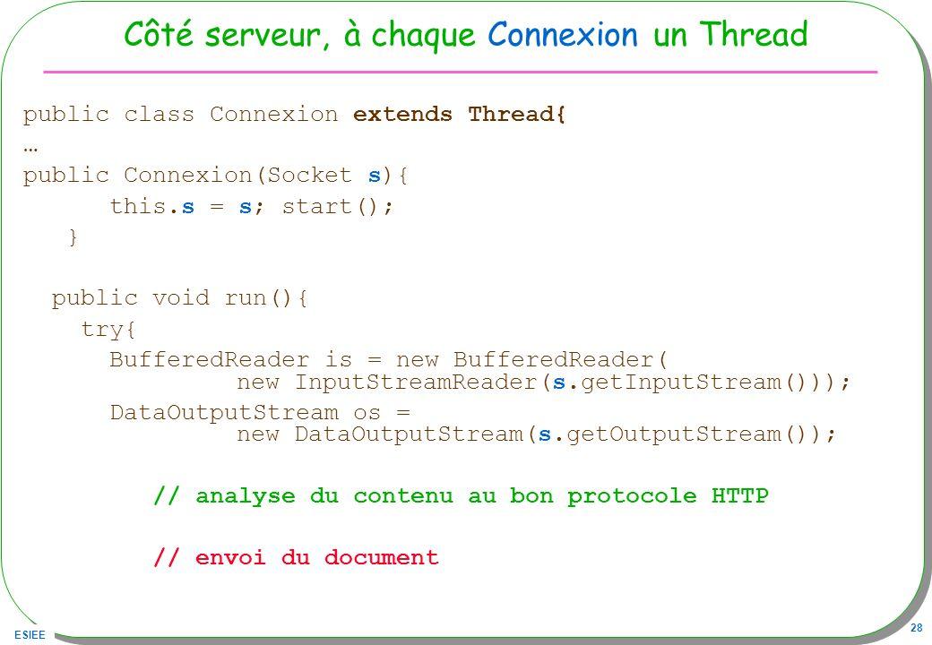 ESIEE 28 Côté serveur, à chaque Connexion un Thread public class Connexion extends Thread{ … public Connexion(Socket s){ this.s = s; start(); } public