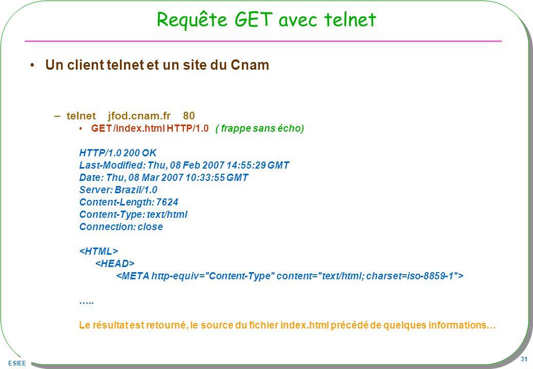 ESIEE 31 Requête GET avec telnet Un client telnet et un site du Cnam –telnet jfod.cnam.fr 80 GET /index.html HTTP/1.0 ( frappe sans écho) HTTP/1.0 200